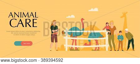 Zoo Savanna Animals Care Park Flat Horizontal Yellow Background Banner With Ostrich Giraffe Visitors