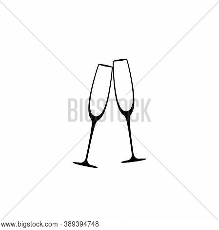 Two Champagne Glasses. Flat Goblet Icon. Black Simple Pictogram Isolated On White Background.