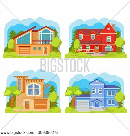 Set Classical Suburban American Houses. Family Home.