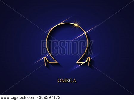 Omega Sign, Gold Logo, Golden Greek Omega Letter Symbol, Luxury Icon, Graphic, Vector Isolated On Da
