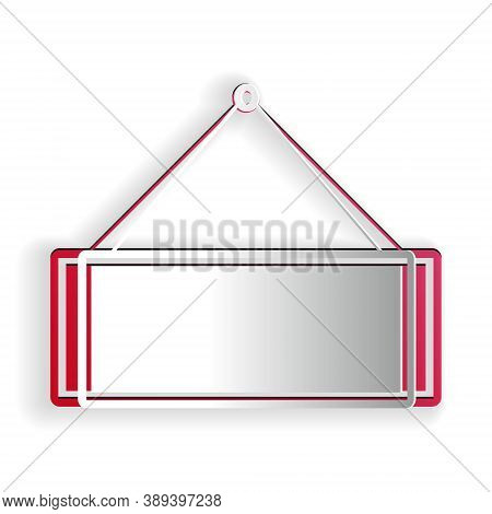 Paper Cut Signboard Hanging Icon Isolated On White Background. Suitable For Advertisements Bar, Cafe