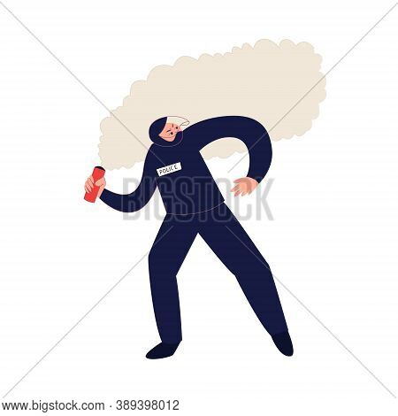 Police Officer Throwing The Smoke Bomb Vector Illustration. Law Enforcement Officer During The Riot