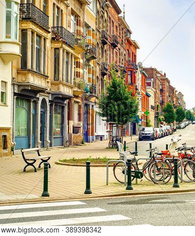 Cityscape, Downtown Street With Typical Architecture, Residential District, Bicycle Parking, Cars An