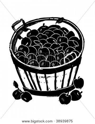Bushel Of Apples - Retro Clipart Illustration