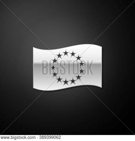 Silver Flag Of European Union Icon Isolated On Black Background. Eu Circle Symbol. Waving Eu Flag. L