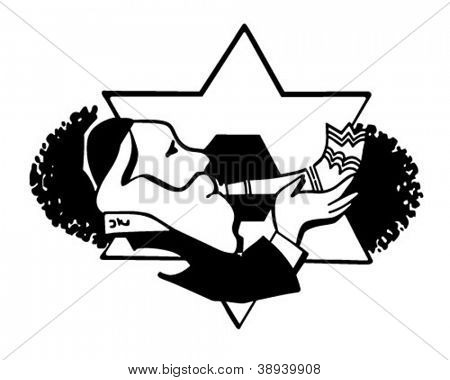 Rabbi Blowing Shofar - Retro Clipart Illustration
