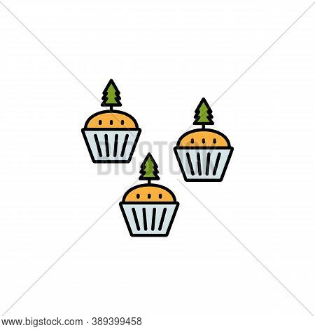 Cake, Tree, Figurines, Christmas Line Icon. Elements Of New Year, Christmas Illustration. Premium Qu