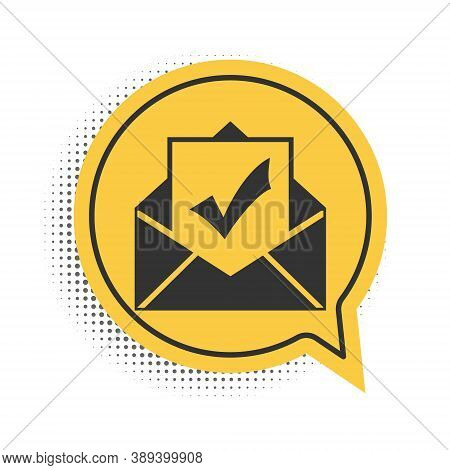 Black Envelope With Document And Check Mark Icon Isolated On White Background. Successful Email Deli