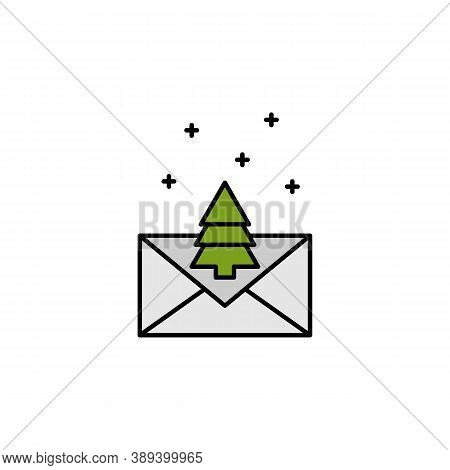 Letter, Christmas, Tree Line Icon. Elements Of New Year, Christmas Illustration. Premium Quality Gra