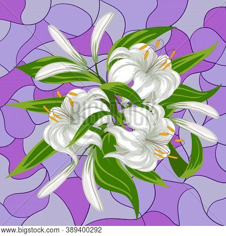 Colored Card With A Bouquet Of Lilies.colored Card With A Bouquet Of Lilies On A Colorful Background