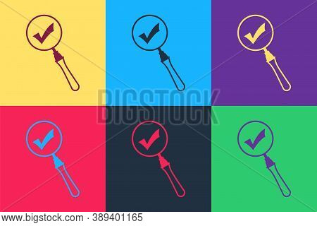 Pop Art Magnifying Glass And Check Mark Icon Isolated On Color Background. Magnifying Glass And Appr