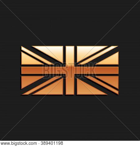 Gold Flag Of Great Britain Icon Isolated On Black Background. Uk Flag Sign. Official United Kingdom