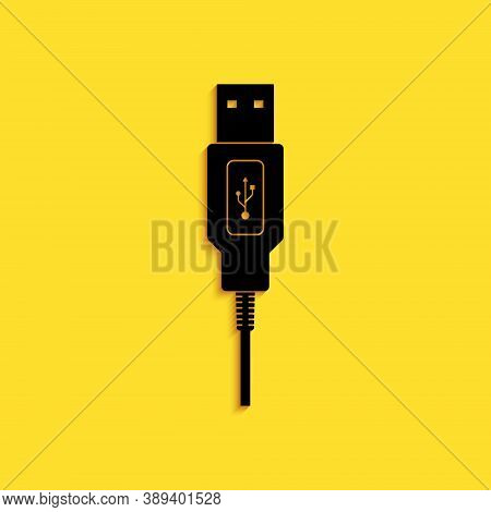 Black Usb Cable Cord Icon Isolated On Yellow Background. Connectors And Sockets For Pc And Mobile De