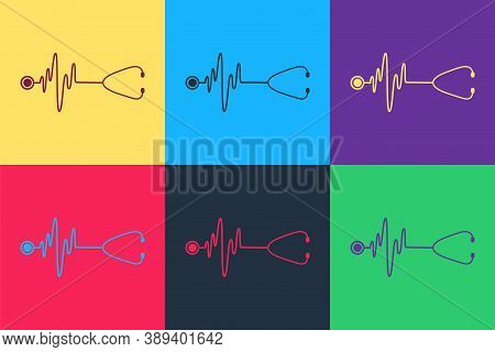 Pop Art Stethoscope With A Heart Beat Icon Isolated On Color Background. Medical Concept. Pulse Care