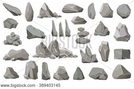 Rock Stones And Debris Of The Mountain. Gravel, Gray Stone, Natural Wall Stones. Collection Of Stone