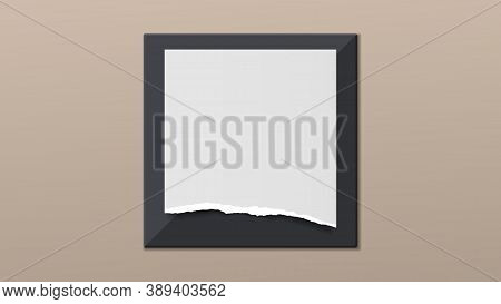 Torn Of White Paper Is On Black Frame And Brown Background For Text, Advertising Or Design. Vector I