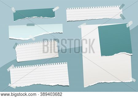 Set Of Torn, White, Turquoise Note, Notebook Paper Strips And Pieces Stuck On Colorful Backgrounds.