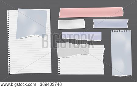 Set Of Torn White, Blue And Pink Note, Notebook Paper Strips And Pieces Stuck On Black Backgrounds.