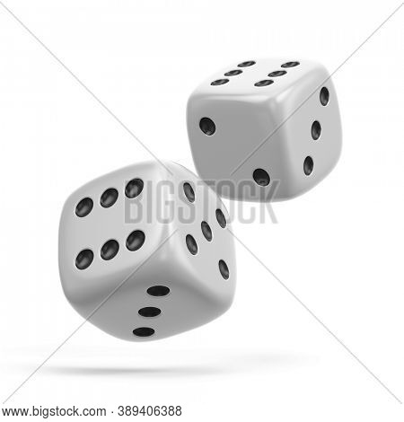 Two White Gambling Dices isolated on the white background. Gambling concept .3d rendering