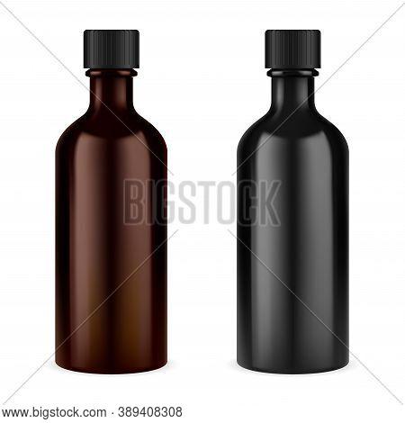 Medicine Syrup Bottle. Brown Glass Screw Cap Jar. Essential Oil Vial. Prescription Suspension Or Cou
