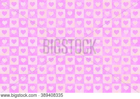 Pink White Orange Lilac Checkered Background With Hearts. Checkered Texture. Space For Graphic Desig