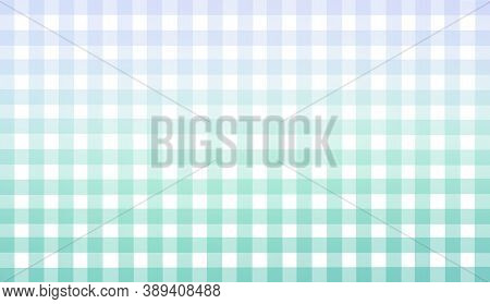 Light Blue White Green Checkered Background. Space For Graphic Design. Checkered Texture. Classic Ch