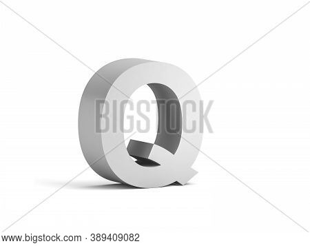 White Bold Letter Q Isolated On White Background With Soft Shadow, 3d Rendering Illustration