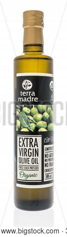 Winneconne, Wi - 6 October 2020:  A Bottle Of Terra Madre Olive Oil On An Isolated Background.