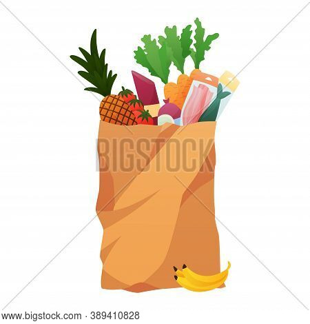 Paper Shopping Bag Products Grocery. Vegetables, Bread, Dairy Products, And Meat. Grocery Supermarke