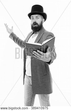 Recite Verses. Poet Or Writer. Author Of Novel. Inspired Bearded Man Read Book. Poetry Reading. Book