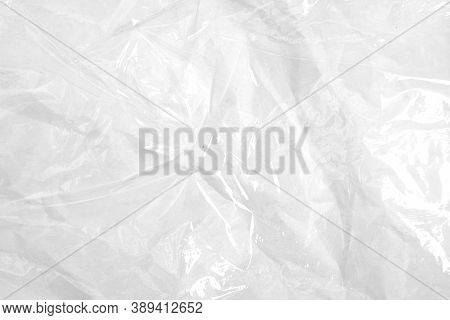 Clear Plastic Texture With White Color. Nylon Polythene Wrap. Plastic Free Lifestyle, Ecology Pollut