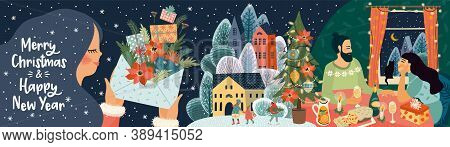 Set Of Christmas And Happy New Year Illustrations. Vector Design Banner.