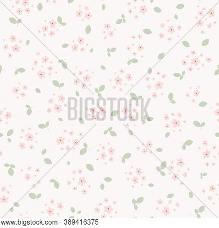 Vector Seamless Pattern With Small Pink Pretty Flowers And Green Leaves On White Backdrop. Liberty S