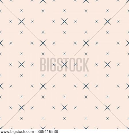 Vector Minimalist Seamless Pattern With Small Crosses, Stars. Simple Blue And Beige Geometric Textur