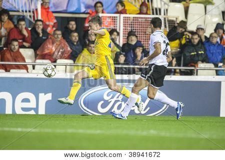 VALENCIA - NOVEMBER 7: Rodionov with ball during UEFA Champions League match between Valencia CF and FC Bate Borisov, on November 7, 2012, in Mestalla Stadium, Valencia, Spain