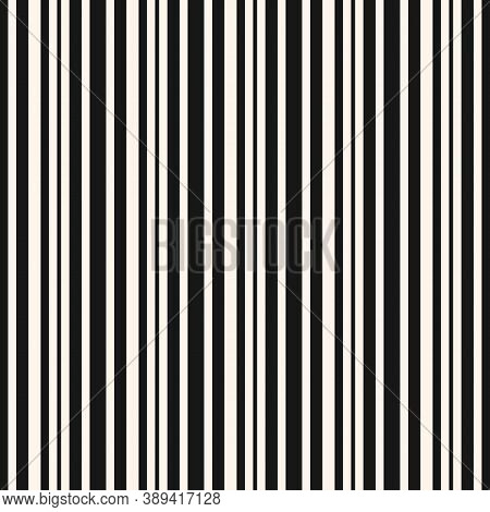 Black And White Vertical Stripes Pattern. Simple Vector Lines Seamless Texture. Modern Abstract Geom