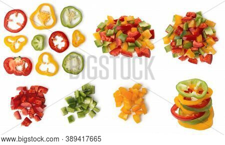 Сhopped Bell Pepper Rings And Diced, Sliced Multicolor Bulgarian Pepper, Isolated On White Backgroun