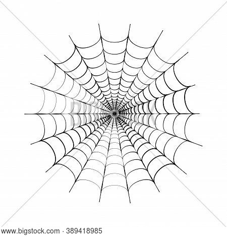 Spider Web Icon Flat Vector Illustration. Halloween Decoration With Cobweb. Spiderweb Outline Graphi