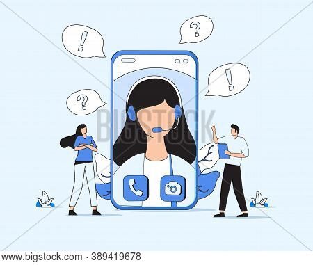 People Characters Talking With Customer Support. Woman And Man Ask Questions And Receive Answers. On