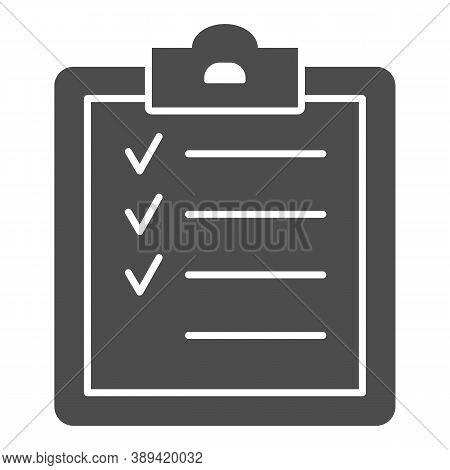 Sport Training Program Solid Icon, Gym Concept, Fitness Plan Sign On White Background, Completing Wo