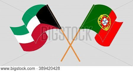 Crossed And Waving Flags Of Kuwait And Portugal. Vector Illustration