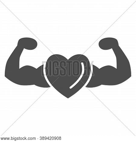 Healthy And Strong Heart Solid Icon, Gym Concept, Strong Health Sign On White Background, Heart With