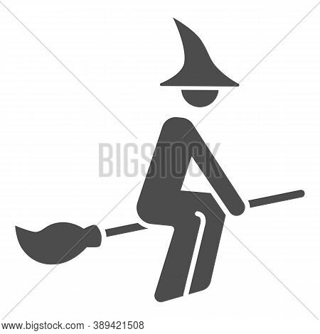 Witch On Broomstick Solid Icon, Halloween Concept, Witch Rides Broom Sign On White Background, Flyin
