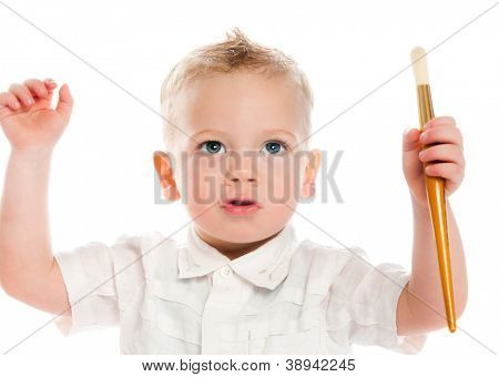boy with painbrush isolated on a white background