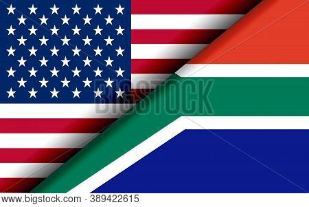 Flags Of The Usa And South Africa Divided Diagonally. 3d Rendering