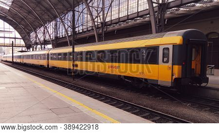 Prague, Czech Republic - September 27, 2020:regiojet Student Agency Yellow Train Carriage On Prague