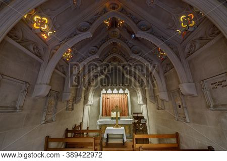 Oakland, California - October 11, 2020: Meditation Chapel At Chapel Of The Chimes
