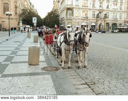 Prague, Czech Republic - September 27, 2020:horse-drawn Carriage, Old Town Square Markets, Restauran