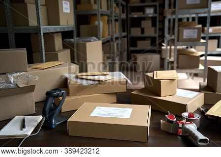 Distribution Warehouse Background, Commercial Shipping Order Boxes For Dispatching On Stockroom Tabl