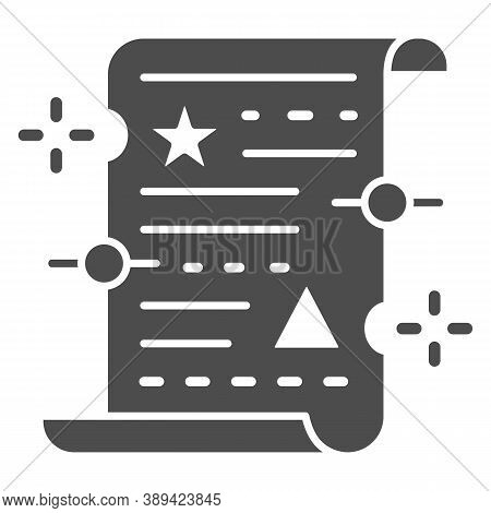 Spell On Papyrus Solid Icon, Halloween Concept, Old Manuscript Parchment Paper With Text Sign On Whi
